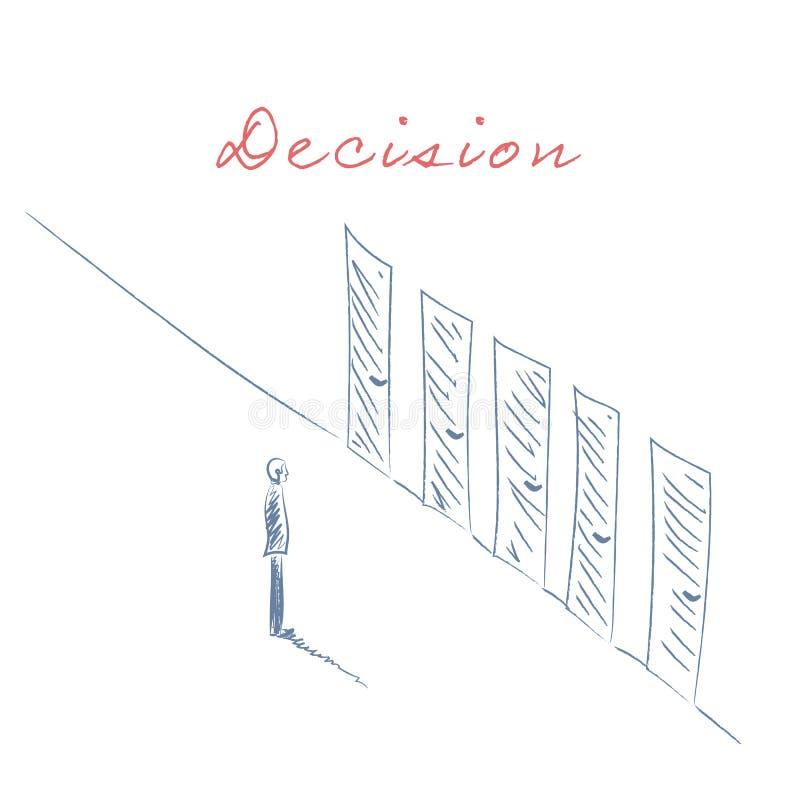 Decyzi biznesowej pojęcia ilustracja Biznesmen pozycja przed drzwiami jako symbol dla wyboru, kariery ścieżka lub royalty ilustracja