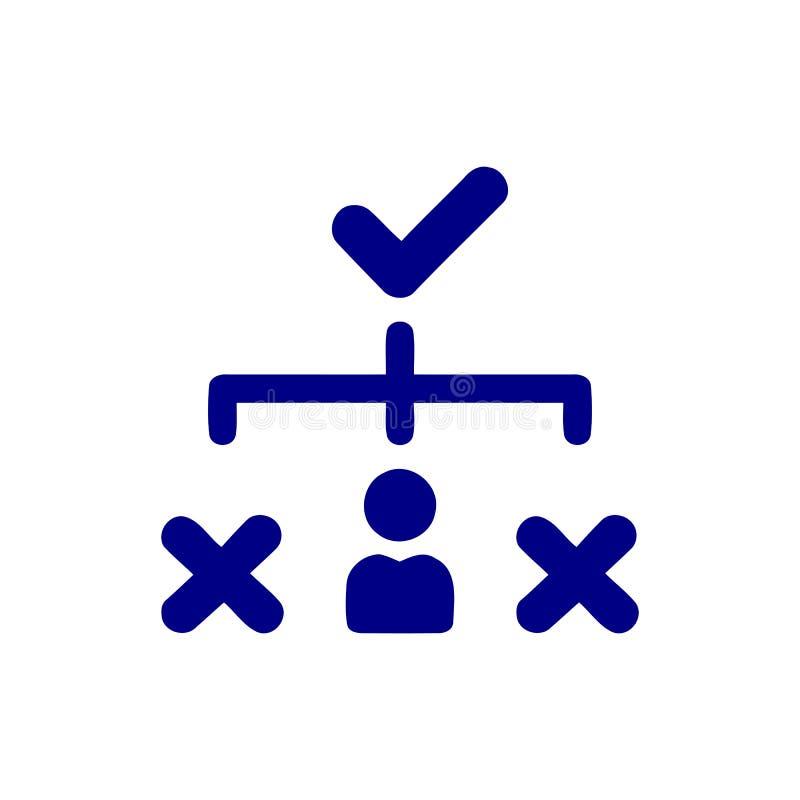 Decyzja biznesowa, plan biznesowy, podejmowanie decyzji, zarządzanie, plan, planowanie, strategia koloru błękitna ikona ilustracja wektor