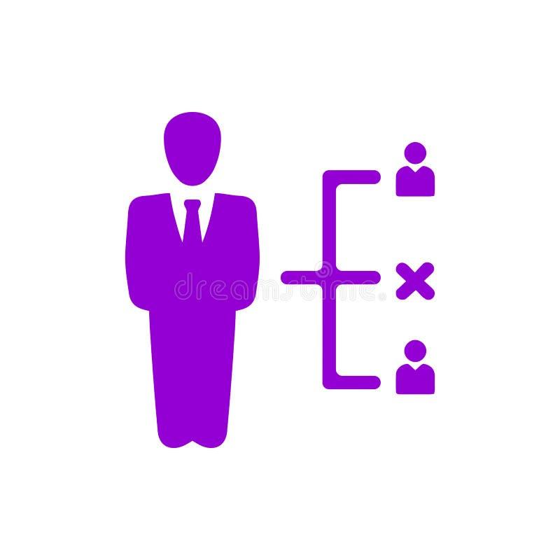 Decyzja biznesowa, plan biznesowy, podejmowanie decyzji, zarządzanie, plan, planowanie, strategia koloru fiołkowa ikona royalty ilustracja