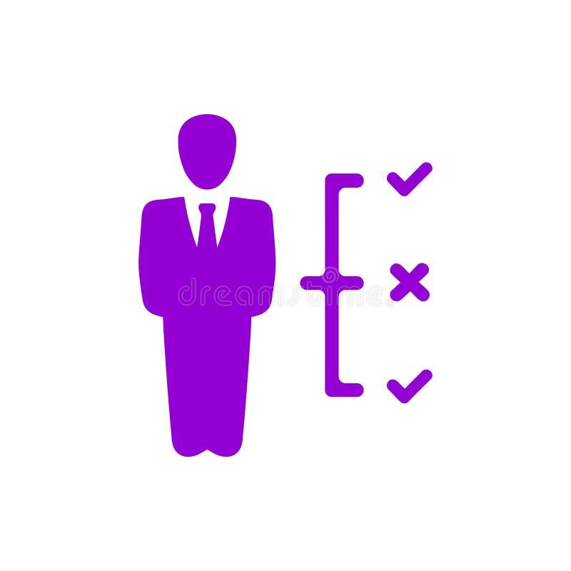 Decyzja biznesowa, plan biznesowy, podejmowanie decyzji, zarządzanie, plan, planowanie, strategia koloru fiołkowa ikona ilustracji