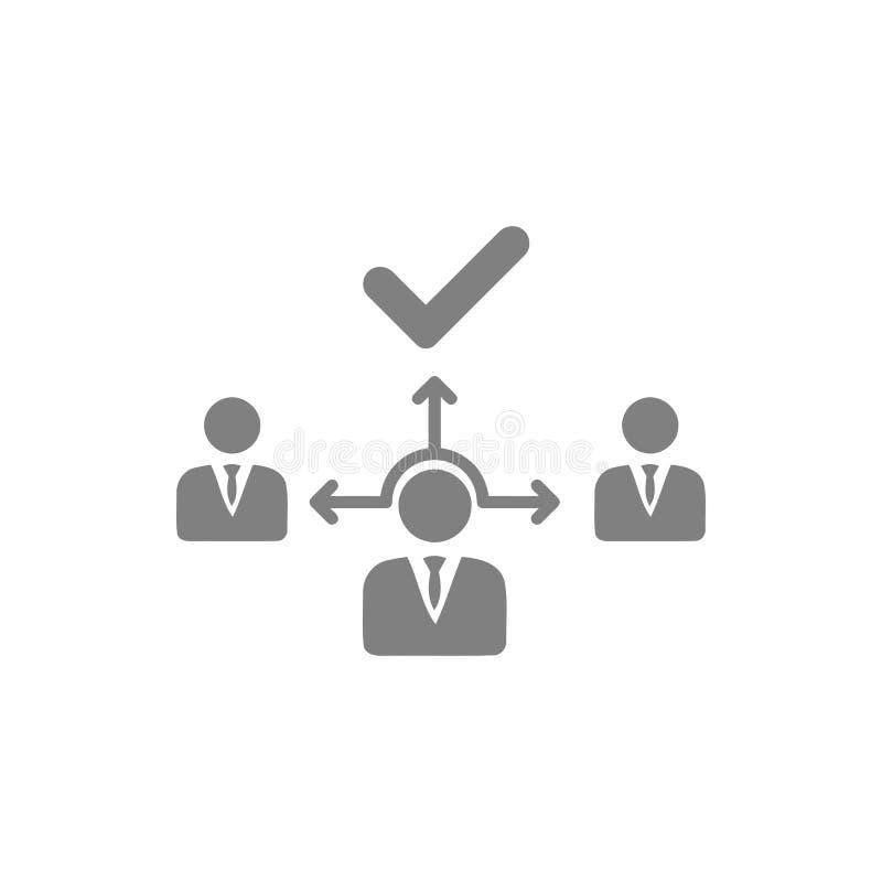 Decyzja biznesowa, plan biznesowy, podejmowanie decyzji, zarządzanie, plan, planowanie, strategia koloru popielata ikona ilustracja wektor