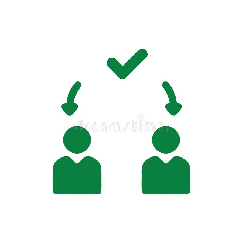 Decyzja biznesowa, plan biznesowy, podejmowanie decyzji, zarządzanie, plan, planowanie, strategia zielonego koloru ikona ilustracja wektor