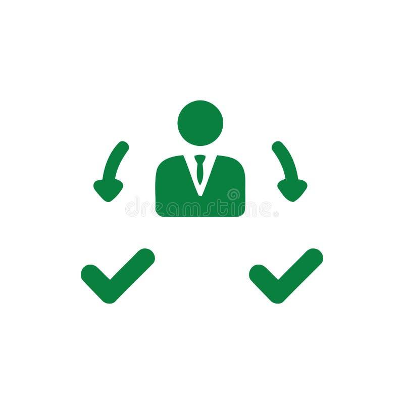 Decyzja biznesowa, plan biznesowy, podejmowanie decyzji, zarządzanie, plan, planowanie, strategia zielonego koloru ikona royalty ilustracja