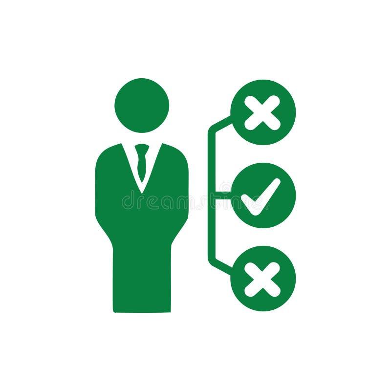 Decyzja biznesowa, plan biznesowy, podejmowanie decyzji, zarządzanie, plan, planowanie, strategia zielonego koloru ikona ilustracji