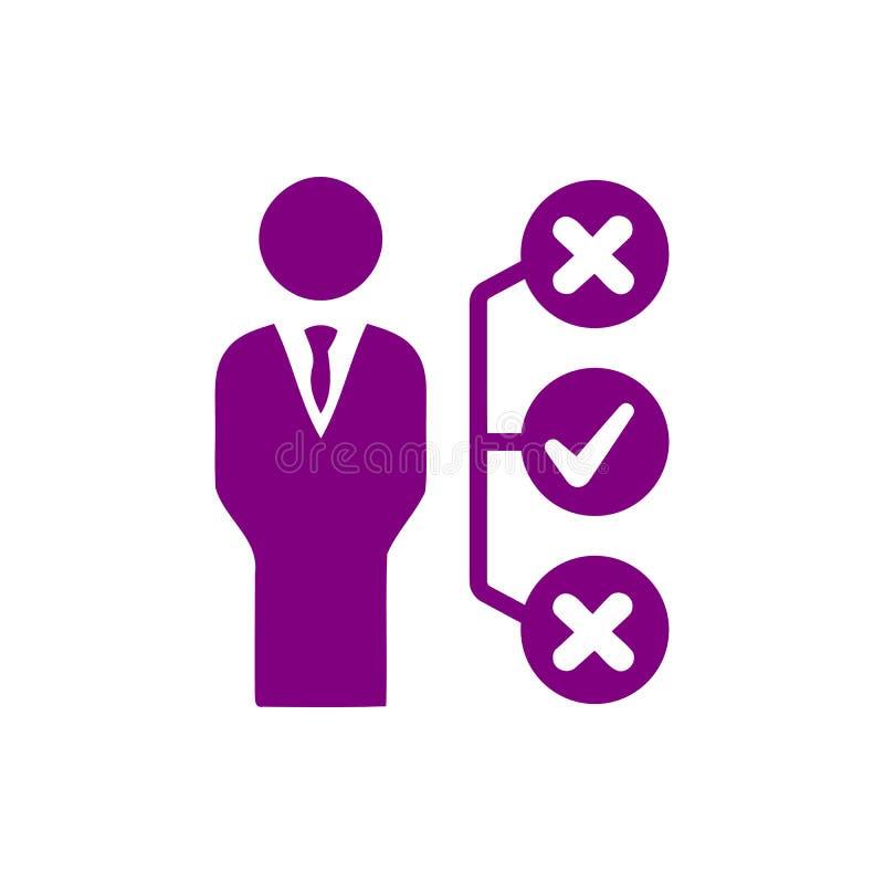 Decyzja biznesowa, plan biznesowy, podejmowanie decyzji, zarządzanie, plan, planowanie, strategii purpura barwi ikonę ilustracja wektor