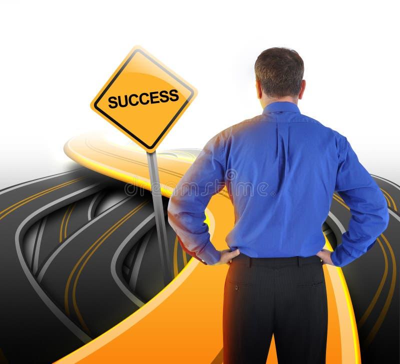 Decyzja Biznesowy mężczyzna Patrzeje sukces drogę obrazy stock