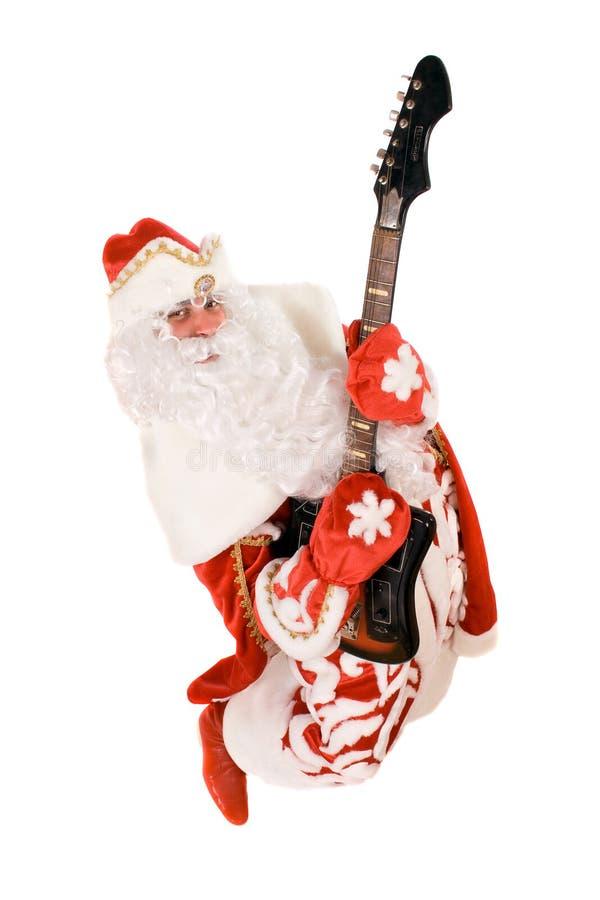 Ded louco Moroz com uma guitarra quebrada fotografia de stock