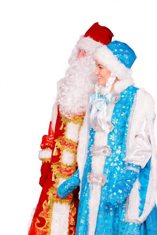Ded Moroz (padre Frost) y Snegurochka (doncella de la nieve) imagenes de archivo