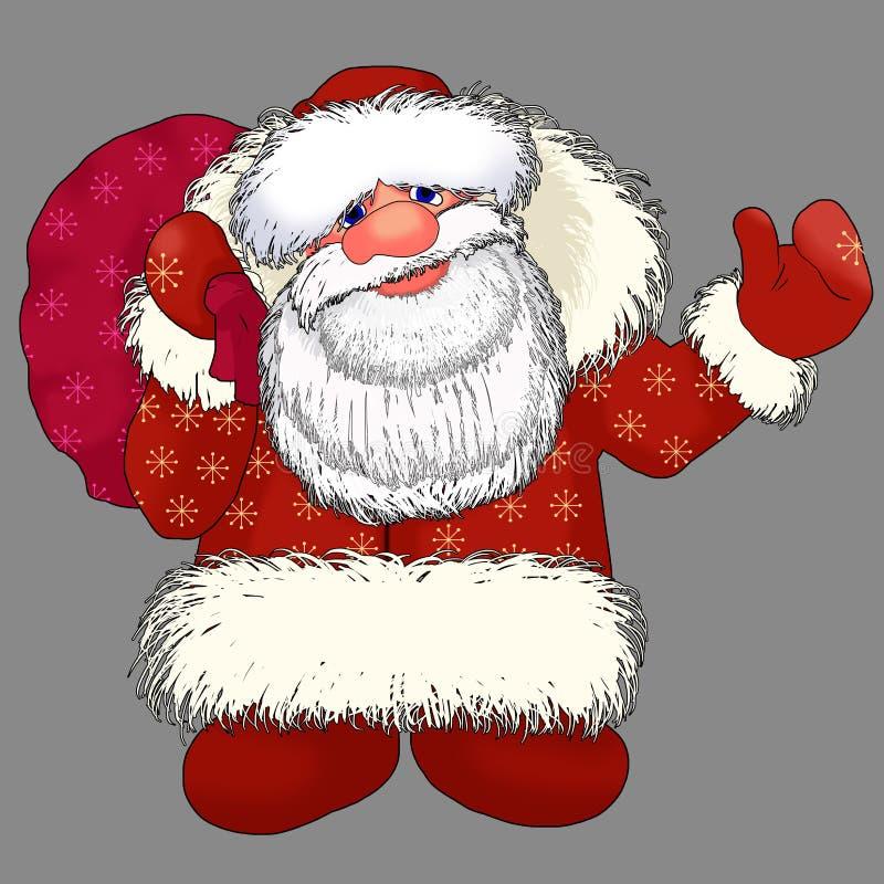 Ded Moroz Santa Claus mit Geschenken stock abbildung