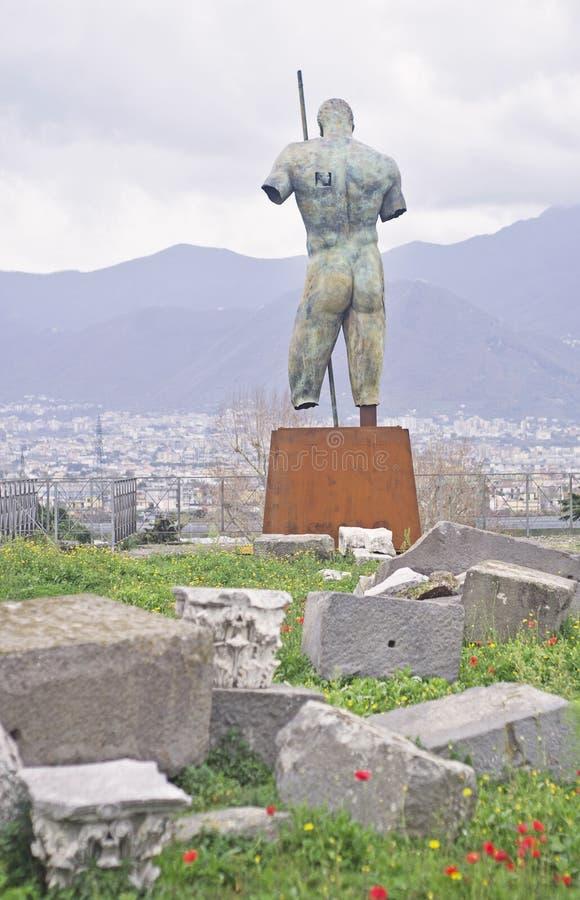 Dedalo古铜雕象在庞贝城,意大利 免版税库存照片