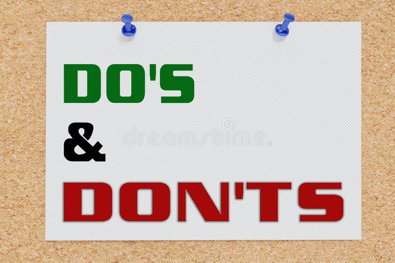 DEDEN & DON'TS-concept vector illustratie