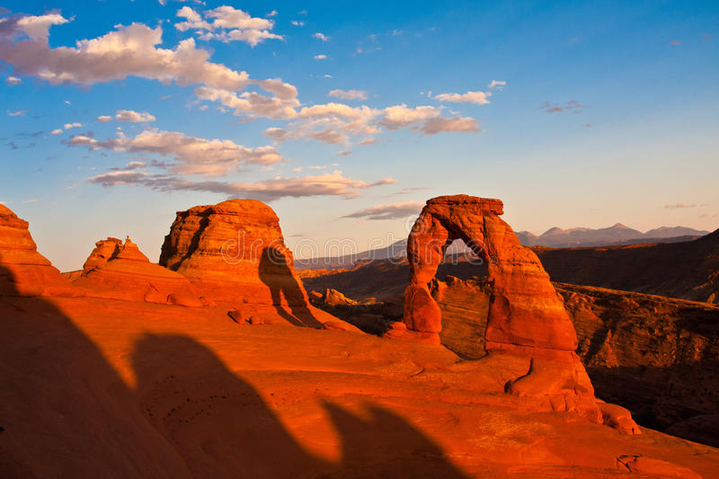Dedicate Arch Sunset in Arches National Park, Utah. Golden Moment of Dedicate Arch during Sunset in Arches National Park, Utah royalty free stock photo