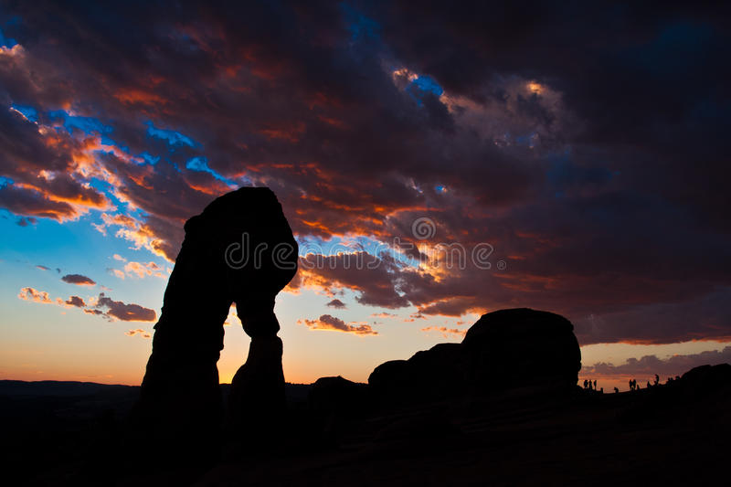 Dedicate Arch Sunset in Arches National Park, Utah. Golden Moment of Dedicate Arch during Sunset in Arches National Park, Utah stock image