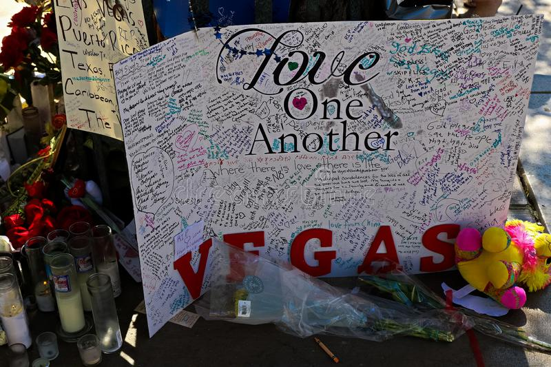 Dedicated flower bed of the Las Vegas Shooting victims. Las Vegas, USA - OCT 07 ,2017 : Dedicated flower bed of the Las Vegas Shooting victims  on the Las Vegas royalty free stock photos