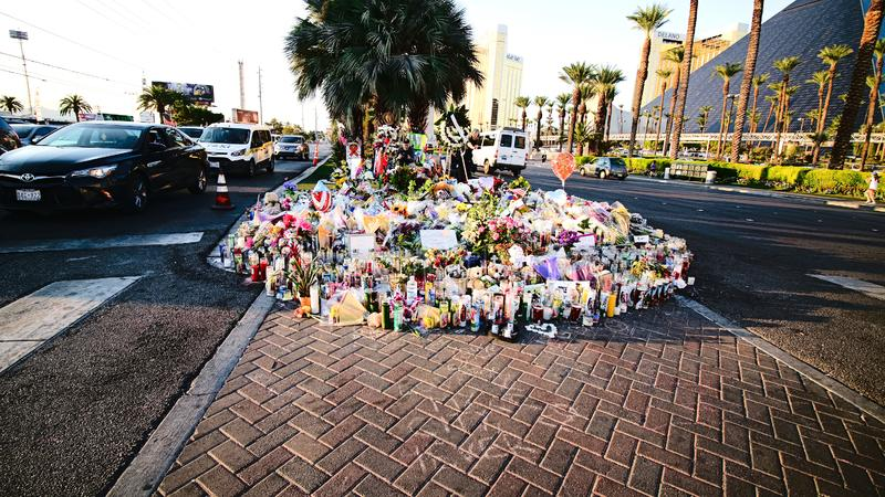 Dedicated flower bed of the Las Vegas Shooting victims. Las Vegas, USA - OCT 07 ,2017 : Dedicated flower bed of the Las Vegas Shooting victims  on the Las Vegas stock photography