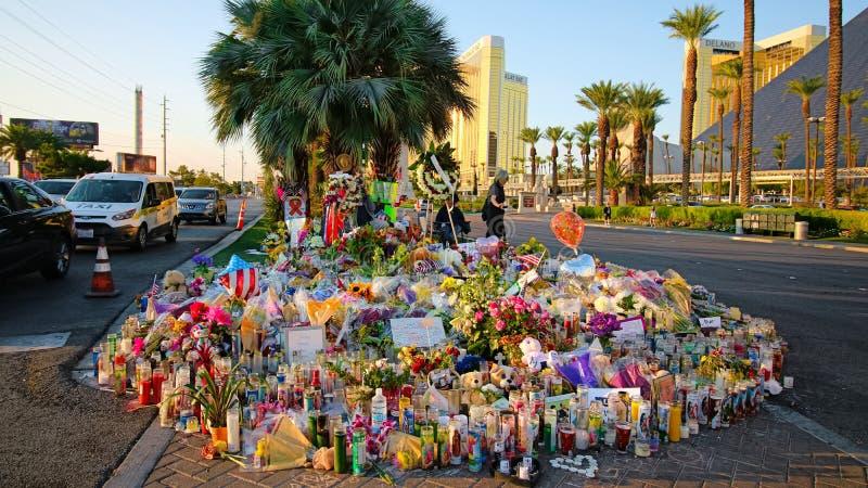 Dedicated flower bed of the Las Vegas Shooting victims. Las Vegas, USA - OCT 07 ,2017 : Dedicated flower bed of the Las Vegas Shooting victims  on the Las Vegas royalty free stock image