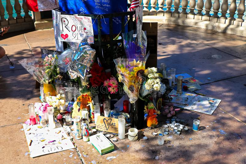 Dedicated flower bed of the Las Vegas Shooting victims. Las Vegas, USA - OCT 07 ,2017 : Dedicated flower bed of the Las Vegas Shooting victims  on the Las Vegas royalty free stock photo