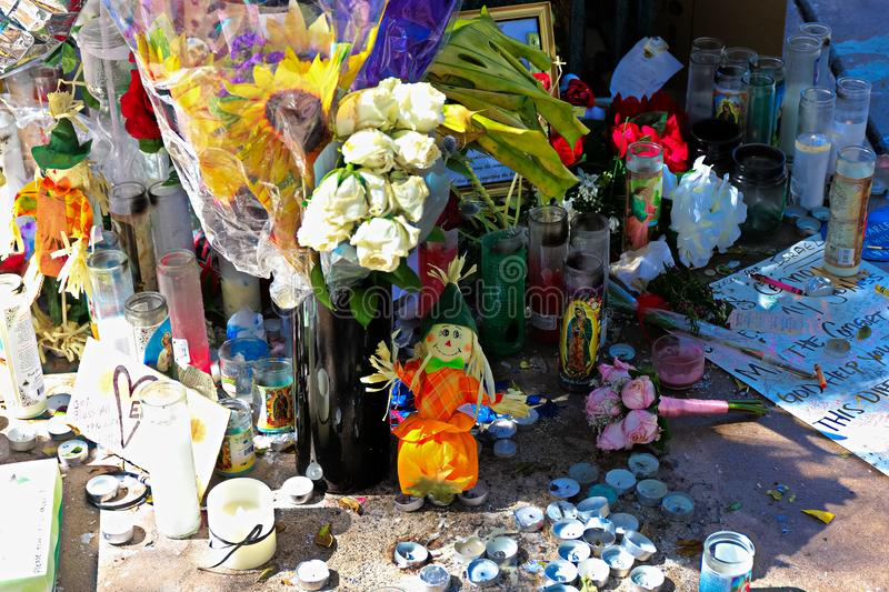 Dedicated flower bed of the Las Vegas Shooting victims. Las Vegas, USA - OCT 07 ,2017 : Dedicated flower bed of the Las Vegas Shooting victims  on the Las Vegas stock images