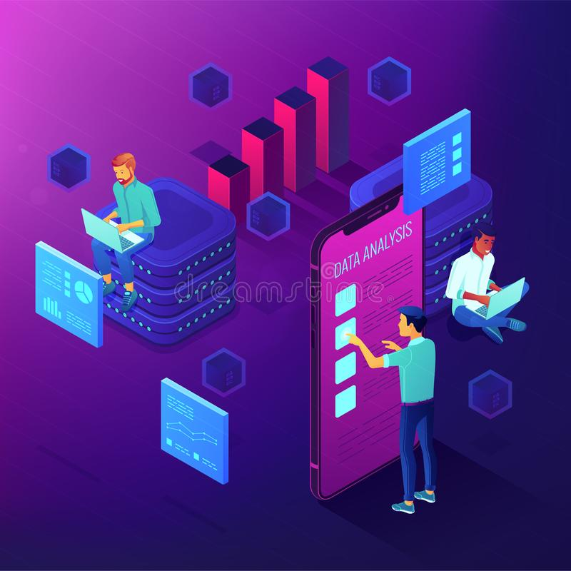 Dedicated team working on a project isometric concept. stock illustration