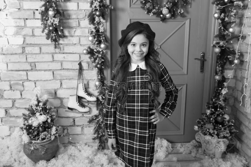 Dedicated to her style. Little fashionista on Christmas. Fashionable small girl. Small model with beauty look. Fashion royalty free stock image