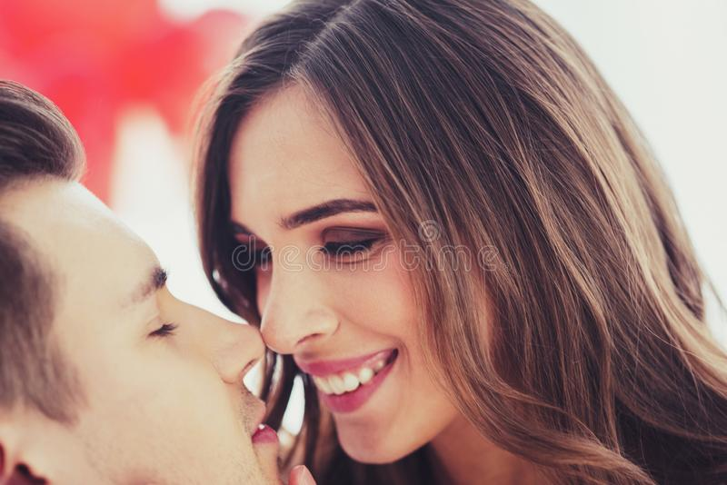 Close up of adorable couple expressing love royalty free stock image