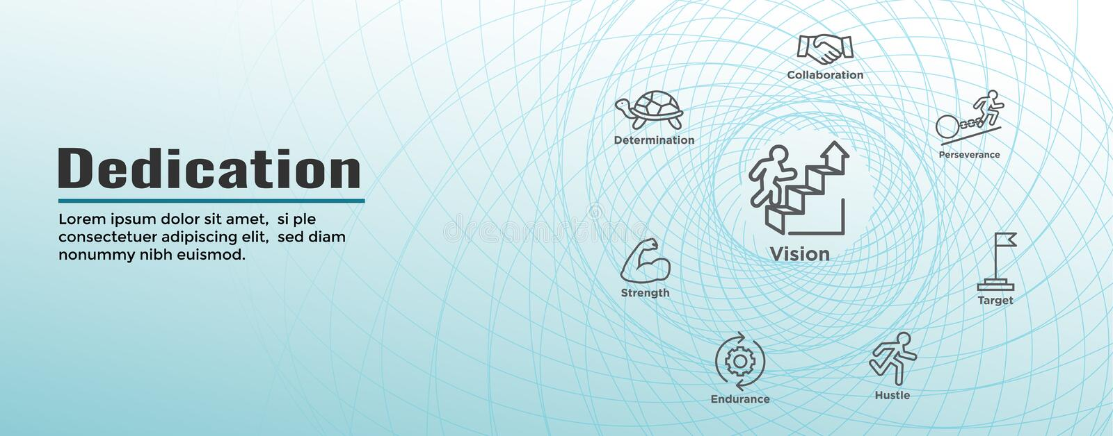 Dedication, Vision and Values Web Header Banner with Connection, Growth, Focus, and Quality vector illustration