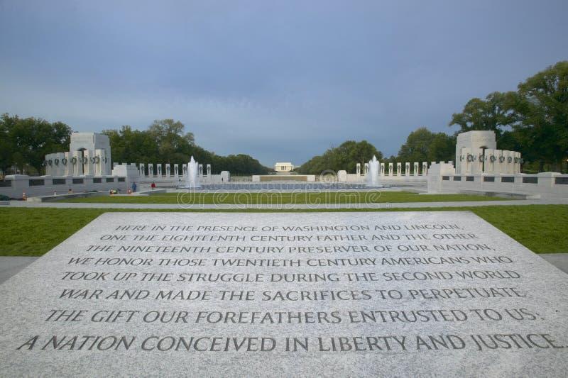 Dedikation till den nationella världen kriger II minnesmärke, Washington D C fotografering för bildbyråer