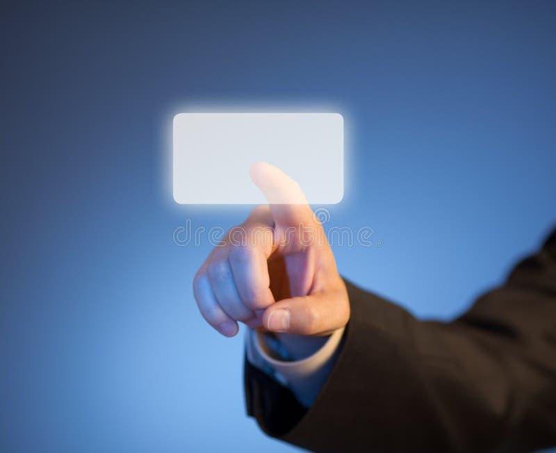 Dedo índice que presiona el botón virtual abstracto imágenes de archivo libres de regalías
