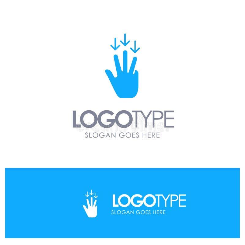 Dedo, Abaixo, Seta, Gere o Logotipo Sólido Azul com o lugar para o slogan ilustração do vetor