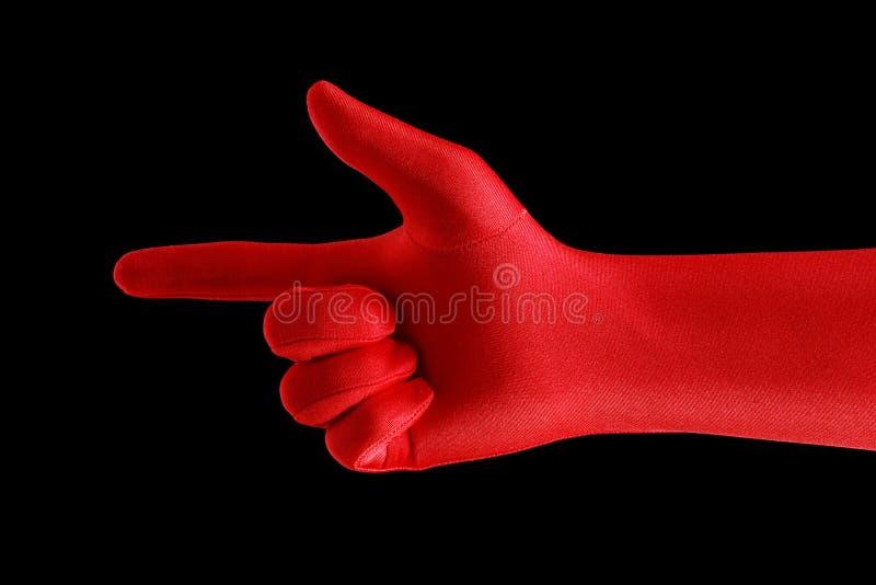 Dedo apontando vermelho foto de stock royalty free