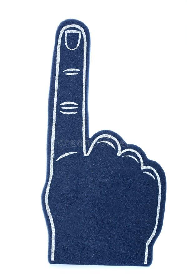 Dedo azul da espuma com o primeiro dedo que aponta acima fotografia de stock royalty free