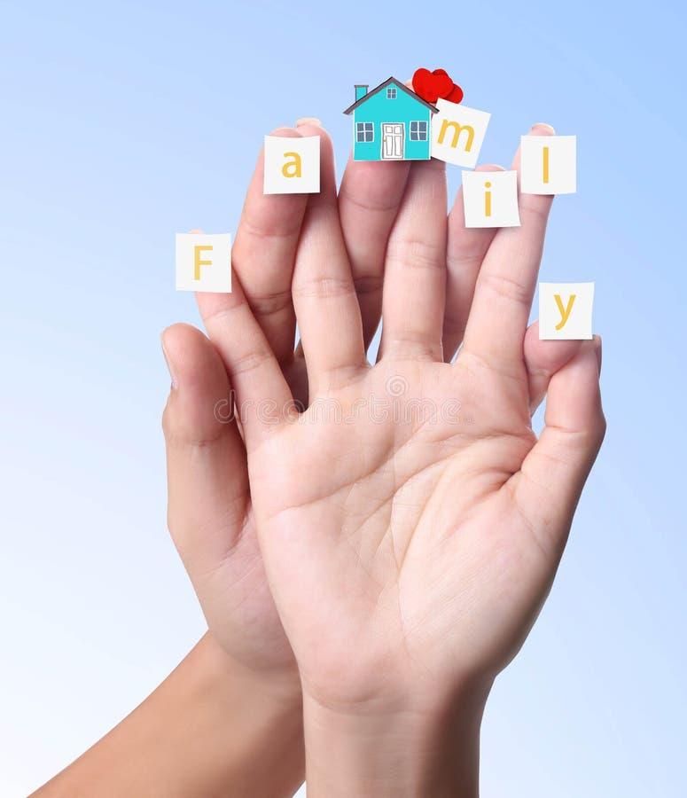 Dedo con el papel y la familia de la palabra ilustración del vector