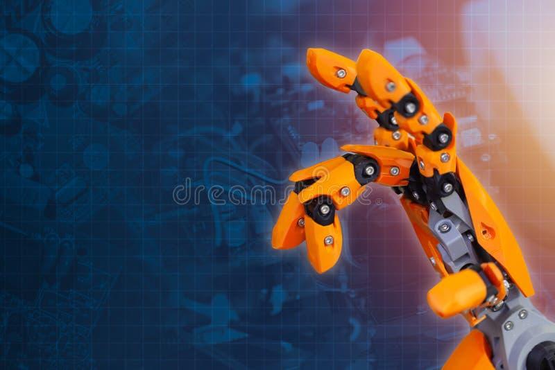 Dedo da mão do robô para a tecnologia avançada da inovação futura robótico do cyber fotografia de stock royalty free