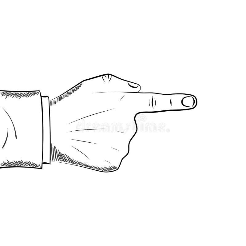 Dedo da mão que aponta o estilo de tiragem ilustração do vetor
