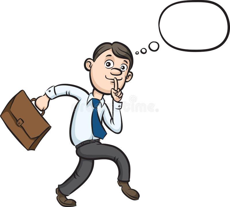Dedo del hombre de negocios de la historieta que hace furtivamente en los labios stock de ilustración