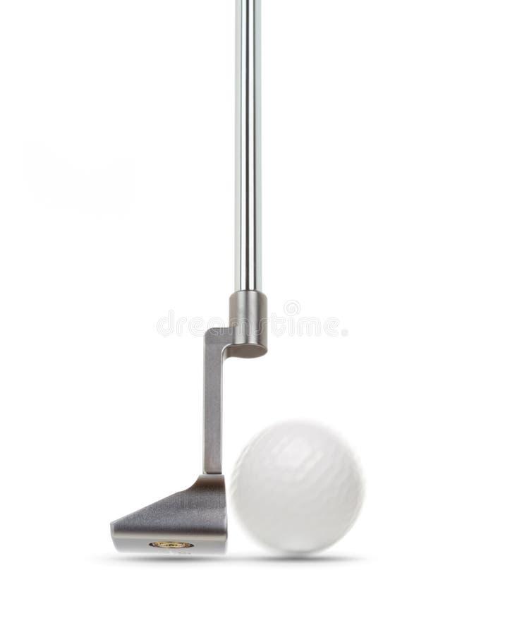 Dedo del pie del putter de Golf Club con la pelota de golf aislada en el fondo blanco foto de archivo