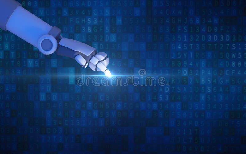 Dedo do robô que aponta com a luz isolada no código de dados do computador ilustração royalty free