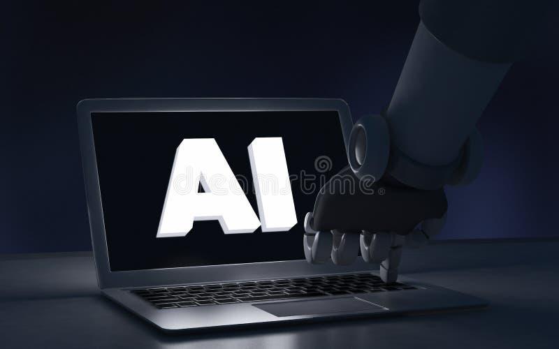 Dedo do robô que toca em um laptop com texto do AI artificial ilustração royalty free