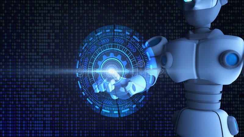 Dedo do robô que toca no gráfico de HUD, inteligência artificial ilustração do vetor