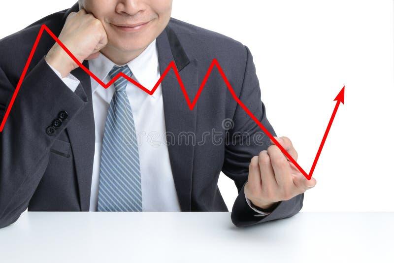 Dedo do uso do homem de negócios a mudar de tragar a ser seta de aumentação imagem de stock