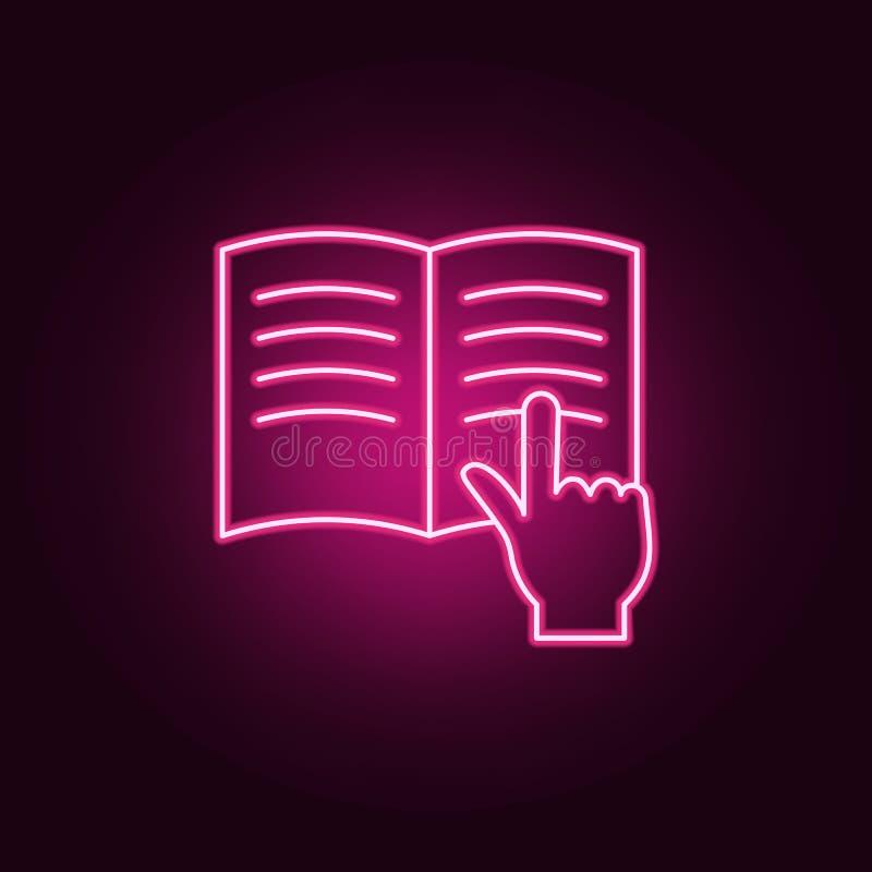 dedo em um ícone do livro Elementos dos livros e dos compartimentos nos ícones de néon do estilo Ícone simples para Web site, des ilustração stock