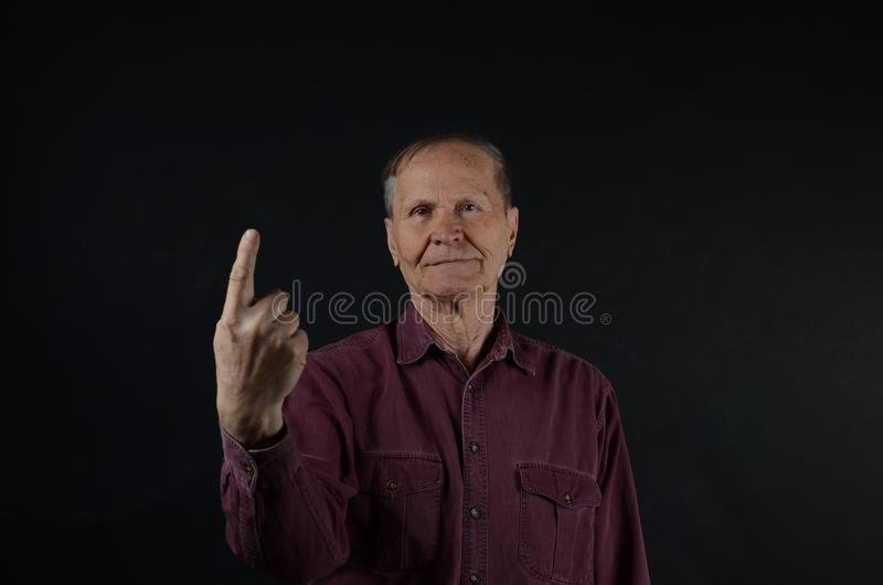 Dedo mostrando superior do ponto fotografia de stock royalty free