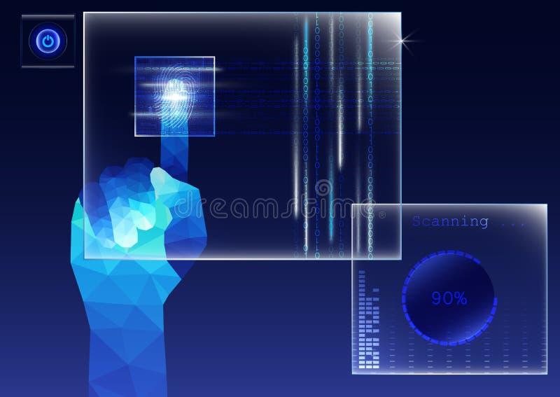 Dedo poligonal que toca na tela transparente e que faz a varredura da impressão digital, conceito de sistema biométrico futurista ilustração stock