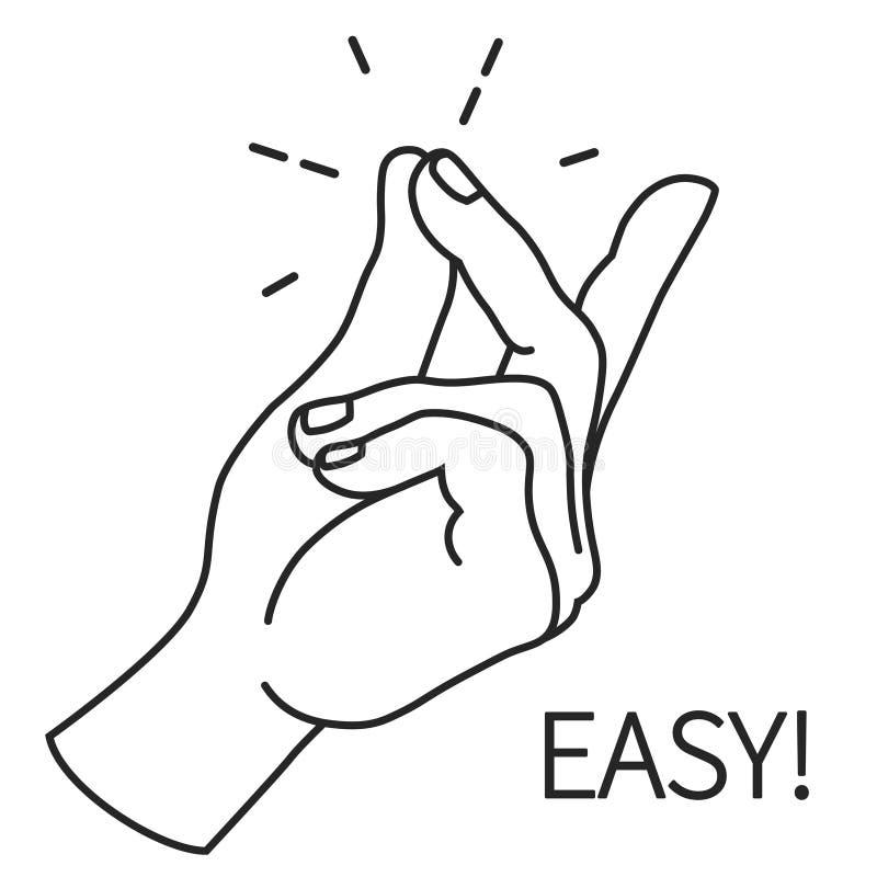 Dedo que agarra Outlin, gesto de mão Ilustração fácil da expressão do conceito ilustração royalty free