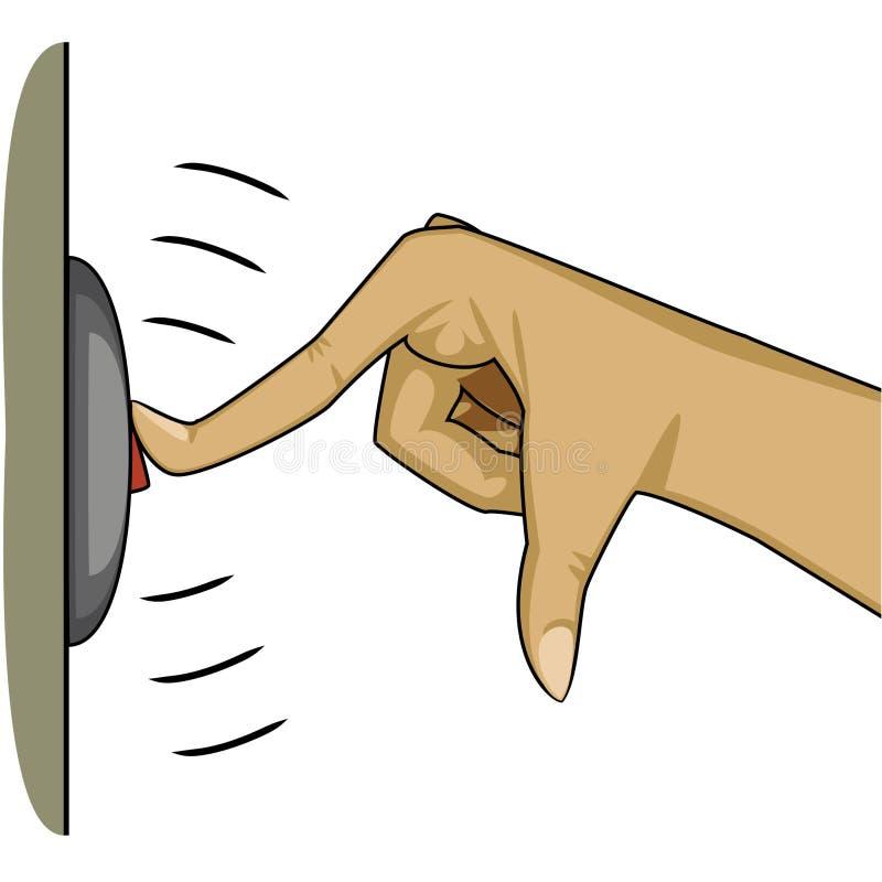 Dedo que pressiona um botão para soar o sino ilustração stock