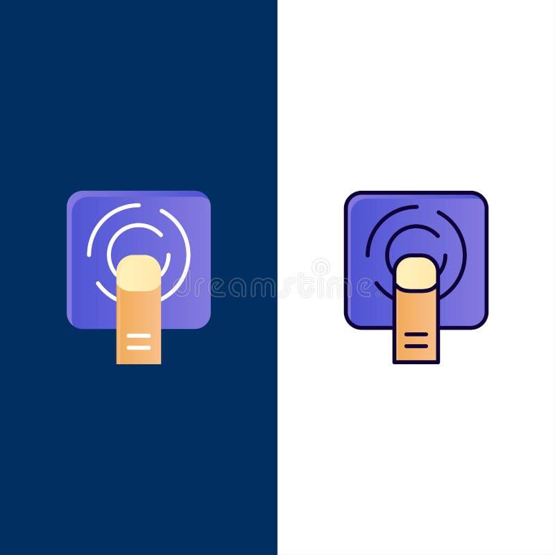 Dedo, toque, toque do dedo, ícones da tela O plano e a linha ícone enchido ajustaram o fundo azul do vetor ilustração do vetor