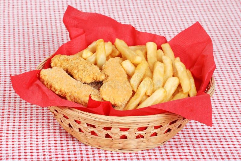 Dedos da galinha e fritadas do francês imagem de stock