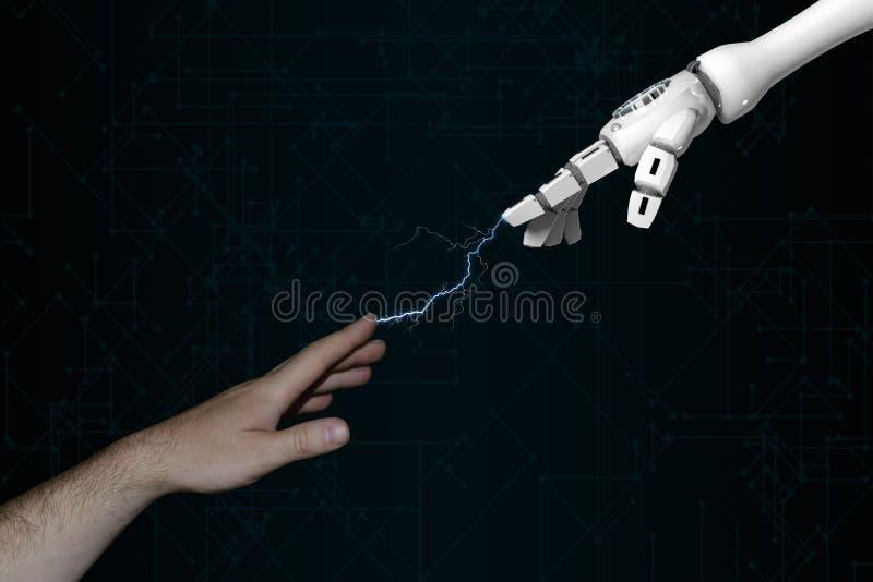 dedos humanos do toque da mão da rendição 3d e da mão do robô com relâmpago ilustração royalty free
