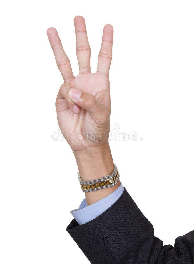 Dedos número tres que cuenta imagen de archivo