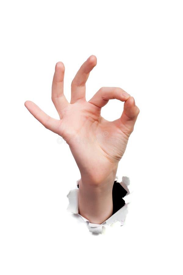 Dedos que muestran la muestra aceptable foto de archivo libre de regalías